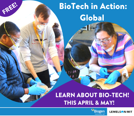 A man teacher with a male student and a woman teacher with a female student, working on experiments with text that Biotech in Action Globral, learn about Bio-Tech this April and May, free