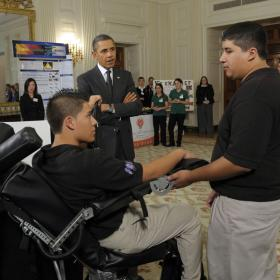 Students with Pres. Obama at White House Science Fair